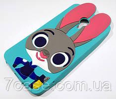 Чехол детский для Meizu M3 Note силиконовый объемный игрушка зайчик Джуди бирюзовый