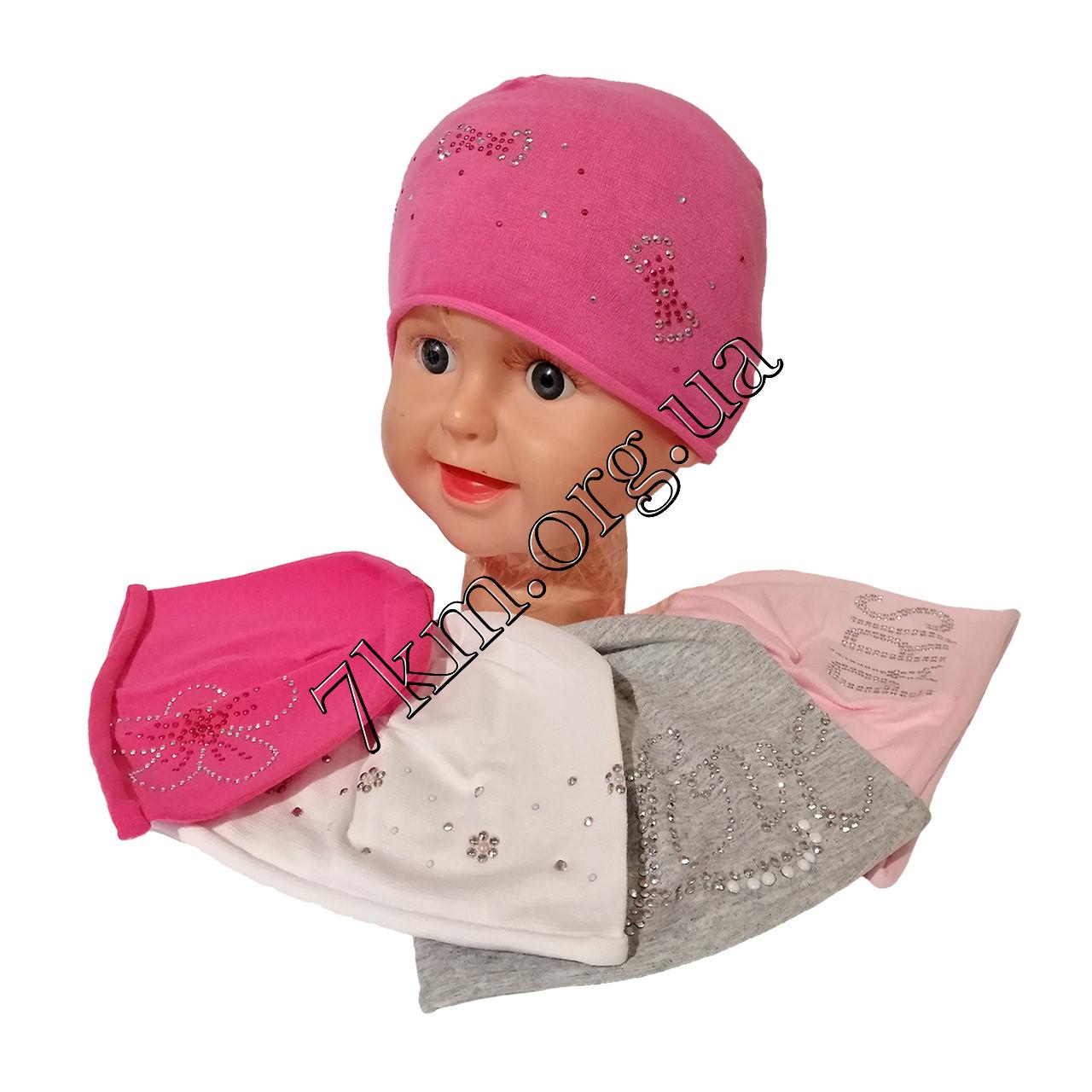 Шапка одинарний трикотаж для новонароджених дівчаток 0-6 місяців Польща Оптом 6021