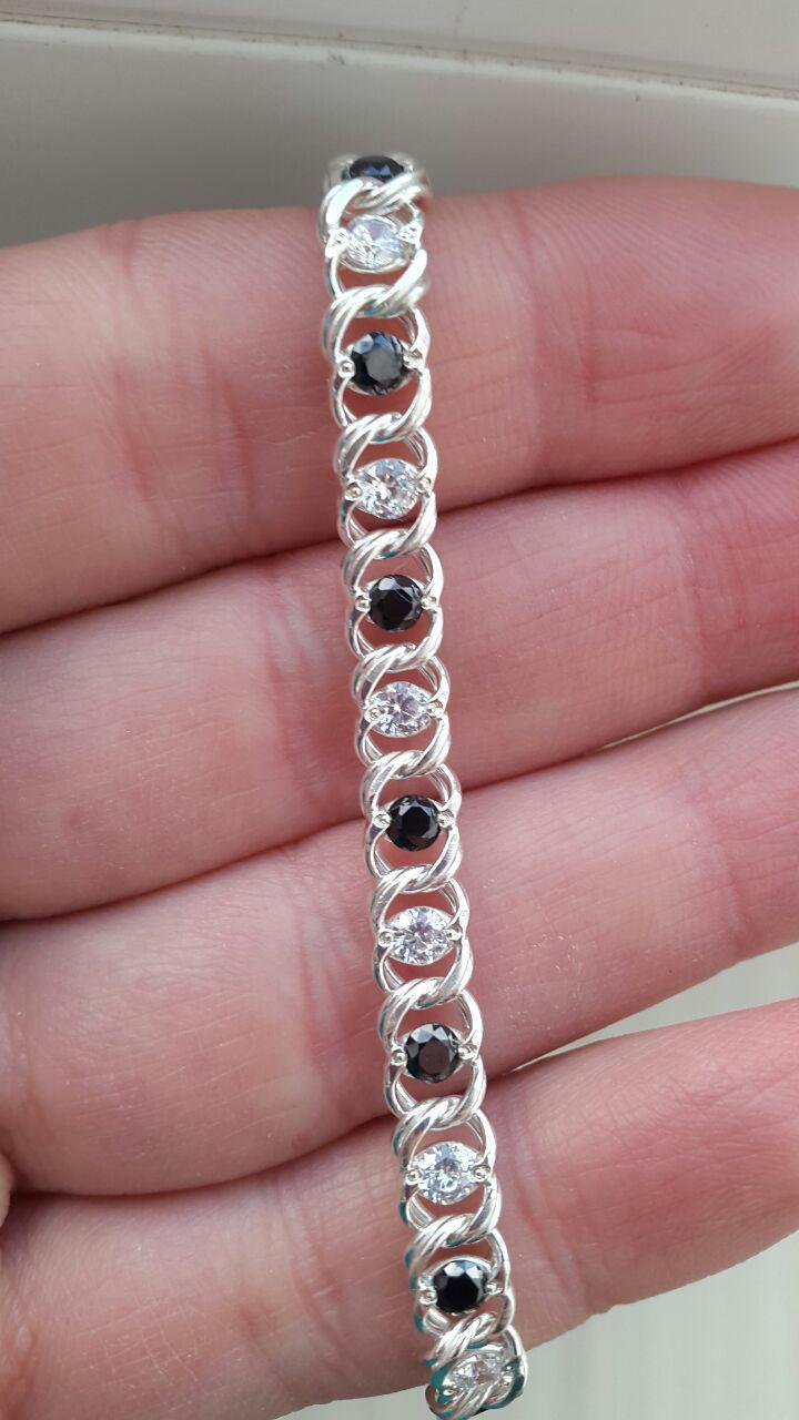 Серебряный женский браслет Арабский Бисмарк с камнями. 18.5-20.5 см. Вес 8.4 гр. Ручное плетение. 925 проба