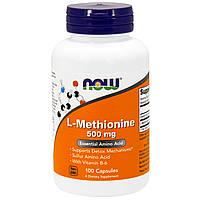 Метионин для нервной системы, L-methionine Now Foods, 500 мг, 100 капсул, фото 1