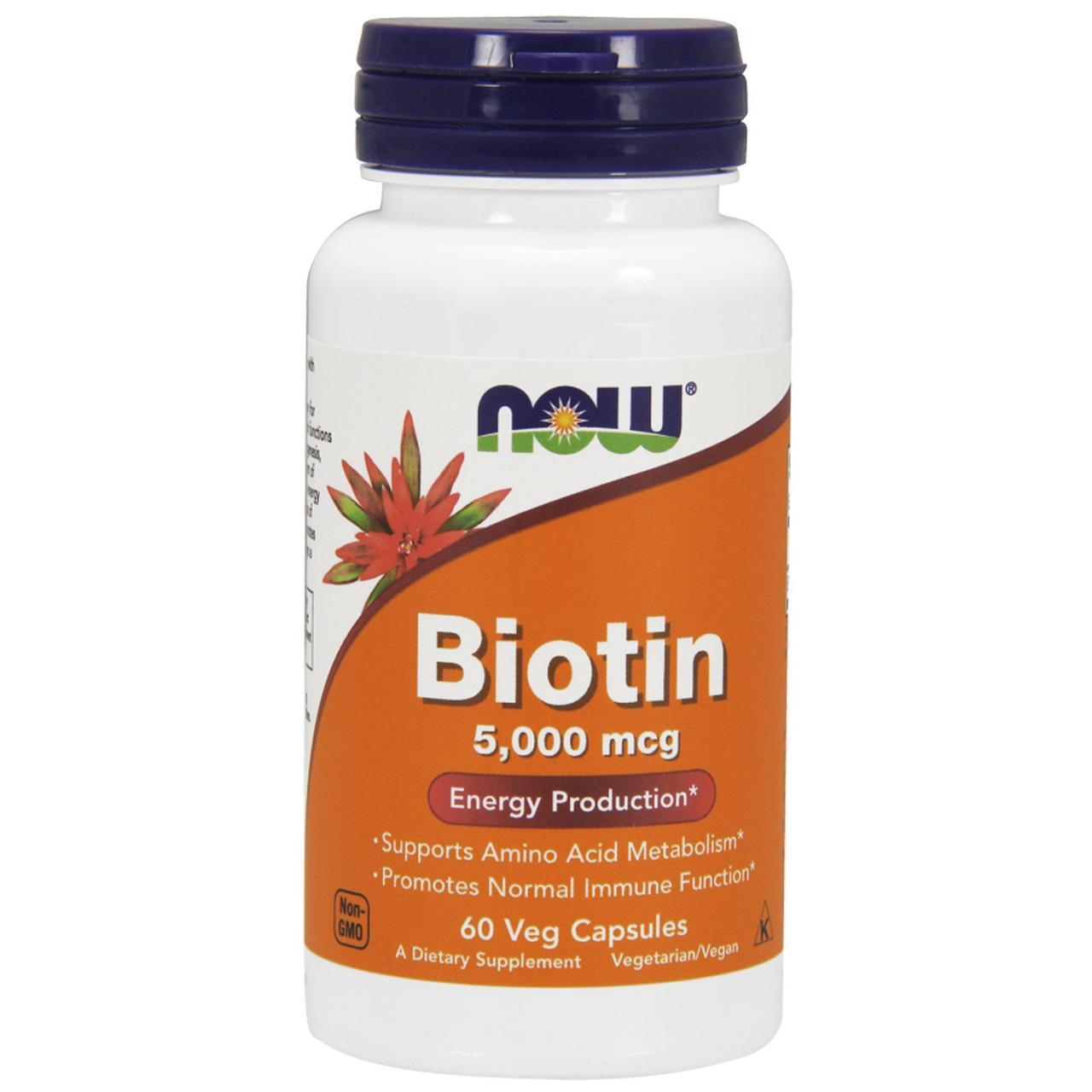 Биотин Now Foods,  5000 мкг, 60 капсул