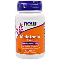 Мелатонин, Melatonin, Now Foods, 3 мг, 60 капсул