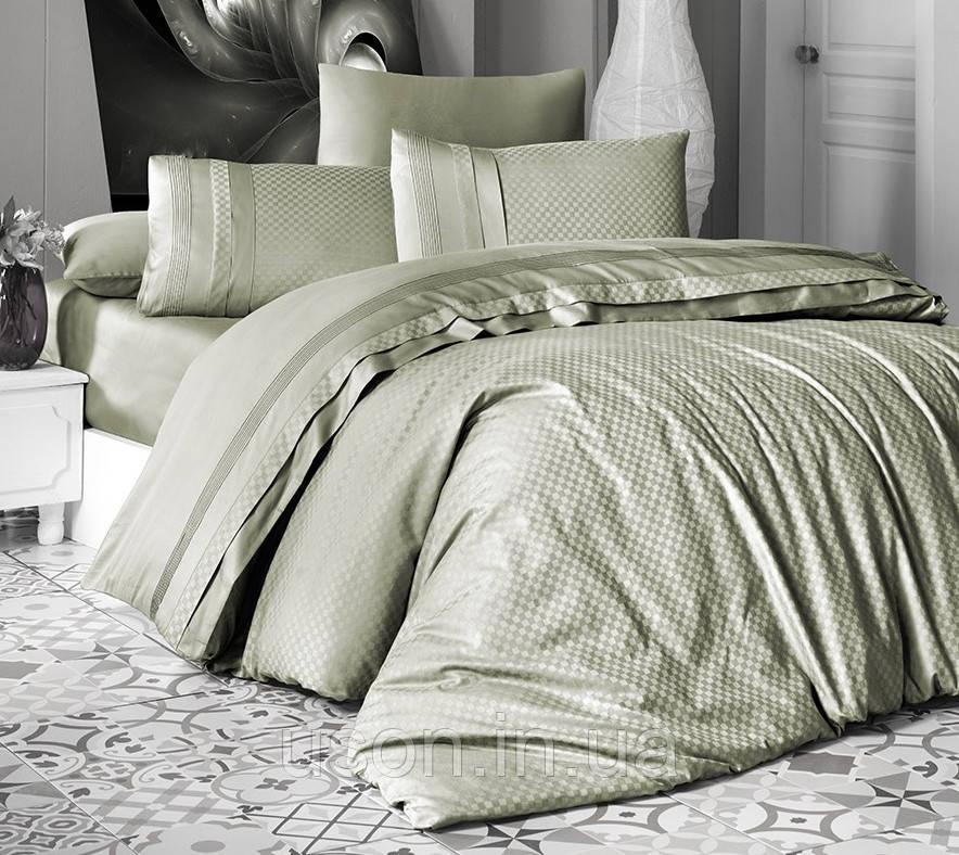 Комплект постельного белья сатин delux first choice евро размер square style yesil