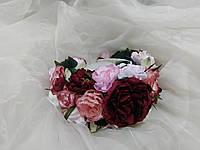 Венок на голову объемный из пион нежно-розовый