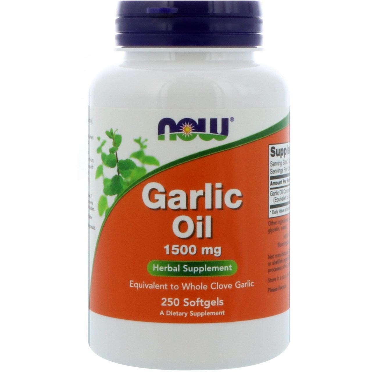 Чесночное масло, Now Food, 1500 мг, 250 капсул