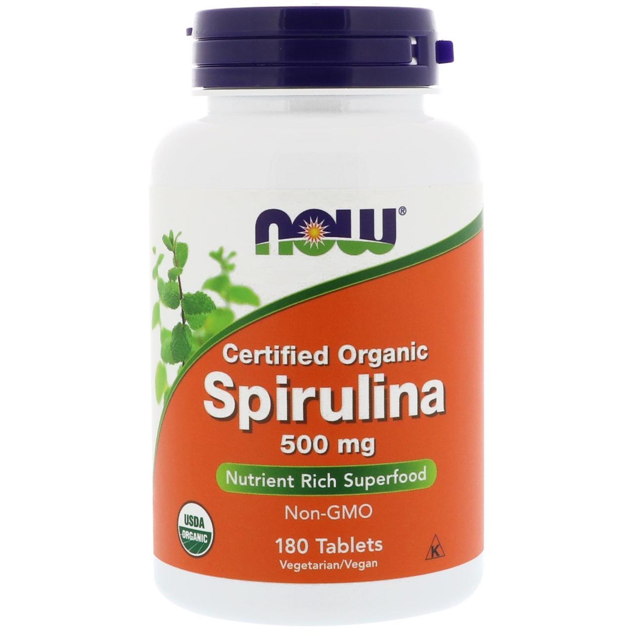 Спирулина, Now Foods, 500 мг, 180 таблеток