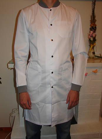 Мужской медицинский халат с серым воротником и манжетами 3142 ( коттон 42-56 р-р ), фото 2