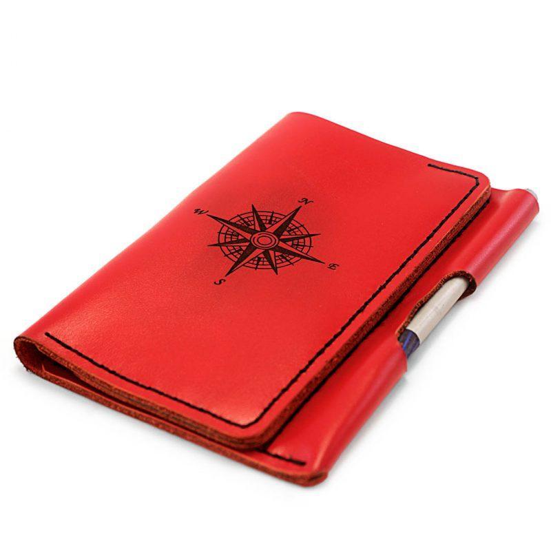 """Портмоне для документів шкіряне з кишенею для ручки """"WindWriter"""". Колір червоний"""