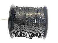 Пайетки метражные на нитке черная, 100м в рулоне