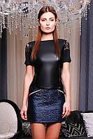 Женская комбинированная кофта с кожей (эко кожа), фото 1
