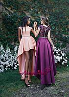 Ассиметричное атласное платье на выпускной