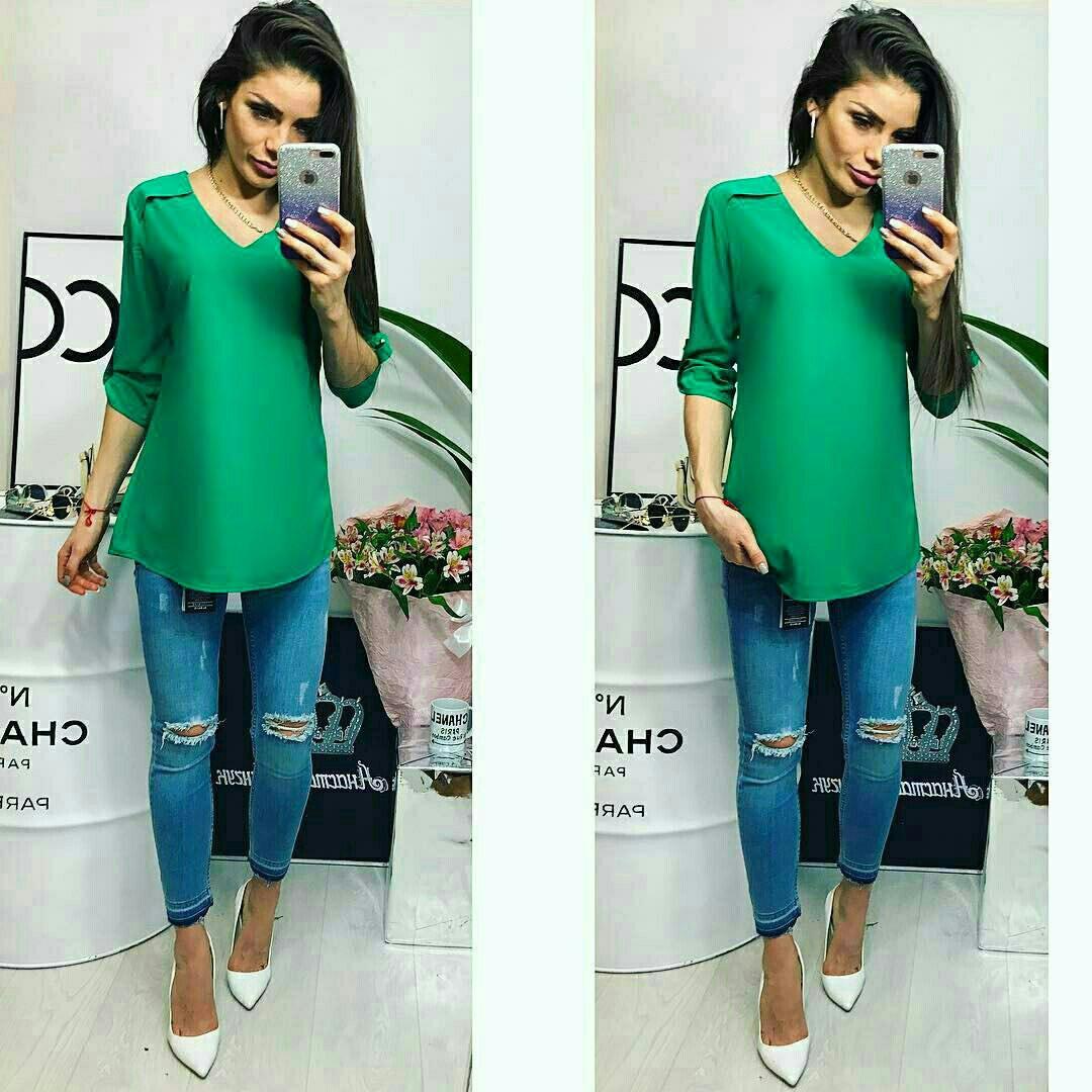 Блузка женская, модель 775, зеленая изумруд