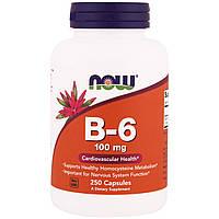 Витамин B-6, 100 мг, 250 капсул, Now Foods, B-6 , фото 1