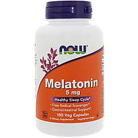 Мелатонин, Melatonin, Now Foods, 5 мг, 180 капсул