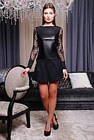 Женская черная кофта с кожей (эко кожа),рукава ажурная сетка