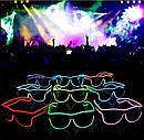 Очки светодиодные  прозрачные El Neon ray ice blue неоновые, фото 4