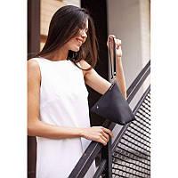 Шкіряна жіноча сумка-косметичка Піраміда чорна