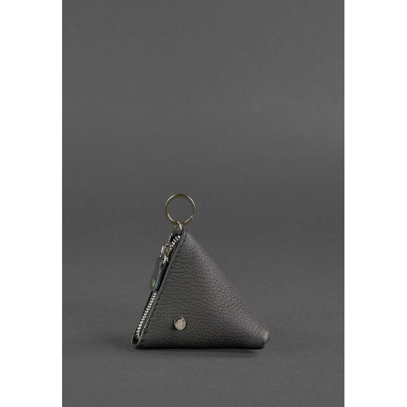 Шкіряна монетниця 2.0 Піраміда чорна