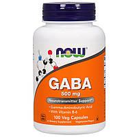 Аминомаслянная кислота и витамин В6, Gaba, Now Foods, 500 мг, 100 капсул