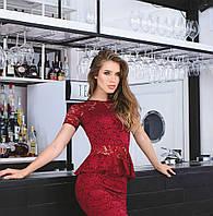 Костюм жіночий блузка і спідниця баска гіпюр довжина 1 метр купити 42 44 46 48 50 Р