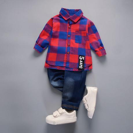Стильный костюм двойка на мальчика 1-4  года рубашка и джинсы весна-осень