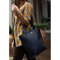 Кожаная женская сумка шоппер D.D. темно-синяя