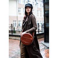 Кожаная женская круглая сумка-рюкзак Maxi светло-коричневая
