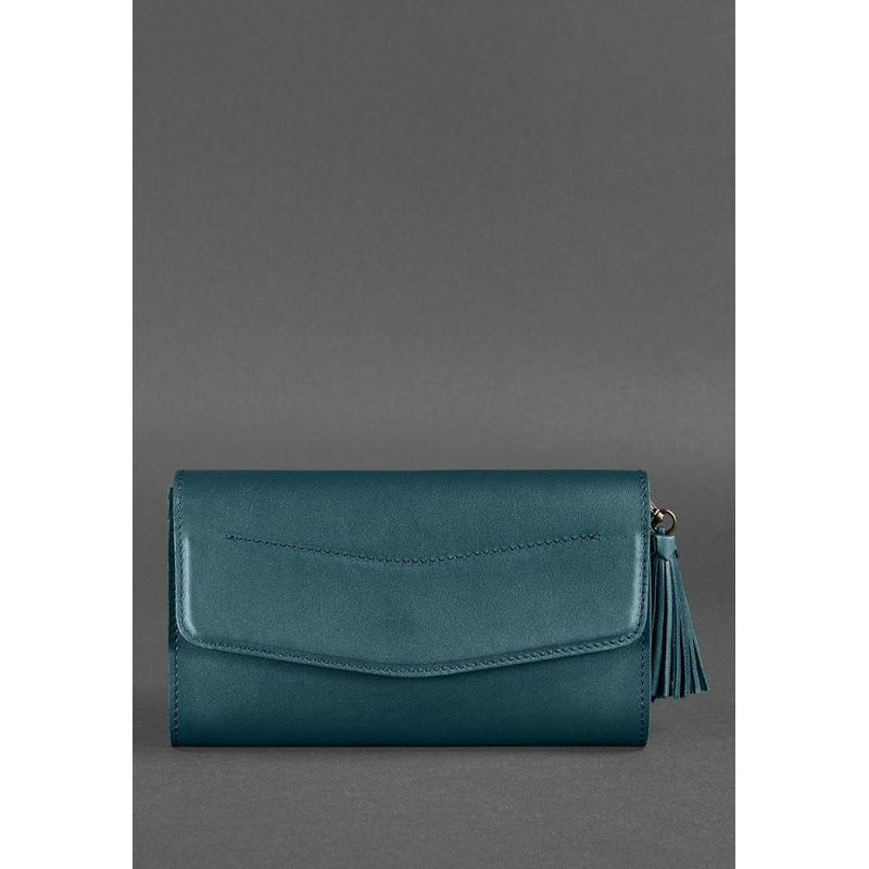 Кожаная женская сумка Элис зеленая