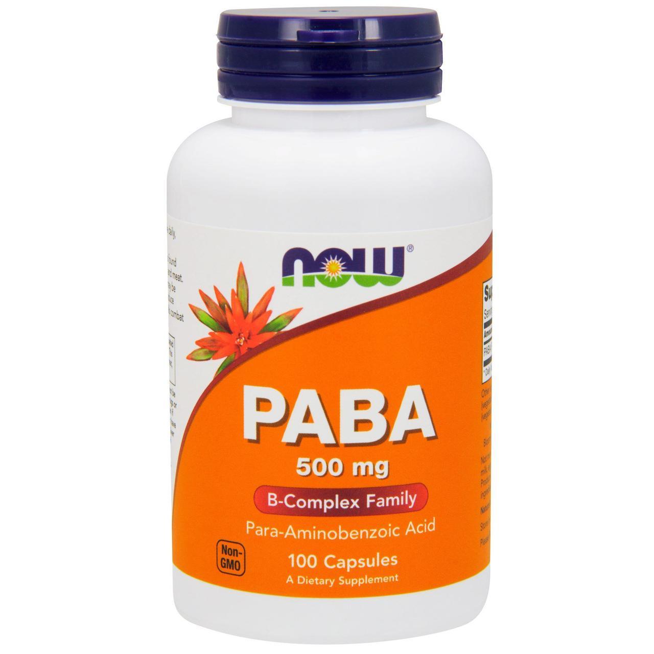 ПАБК (пара-аминобензойная кислота), Now Foods, 500 мг, 100 капсул