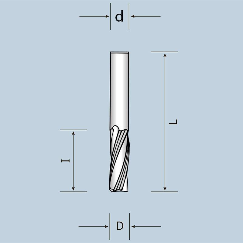 Спиральная фреза Z3 с выбросом стружки вверх D12 I42 d12