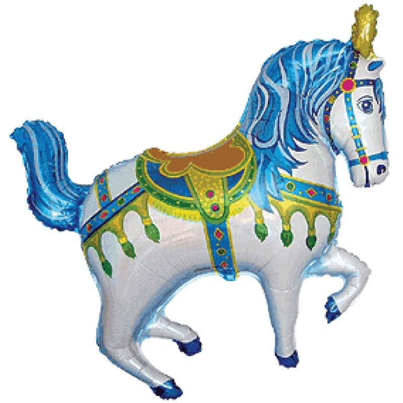 """Фольгований куля Кінь Ярморочная, Блакитна, Flexmetal (Іспанія), 35""""/90 см x 39""""/98 см"""