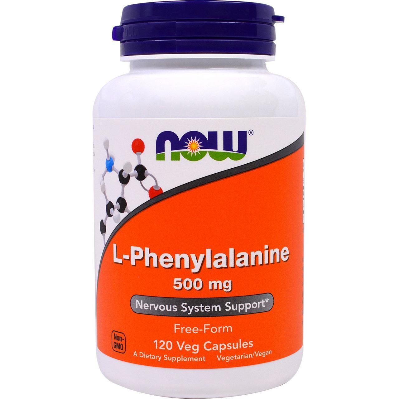Фенілаланін, амінокислота, L-Phenylalanine, Now Foods, 500 мг, 120 капсул