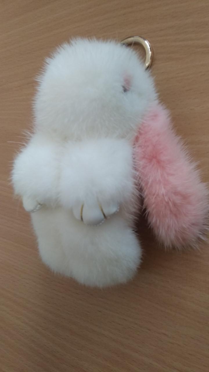 Портативная батарея в виде игрушки Power Bank 5200mAh Кролик с натурального меха CHINA Бело розовы