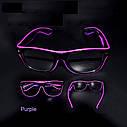 Очки светодиодные  прозрачные El Neon ray purple неоновые, фото 2