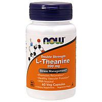 Теанин, Двойная сила, L-Theanine, Now Foods, 200 мг, 60 кап., фото 1