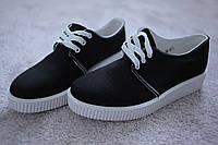 Женские полуботинки кроссовки черные на белой подошве текстиль 36 37 39 размер