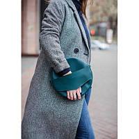 Шкіряна жіноча кругла сумка-рюкзак Maxi зелена