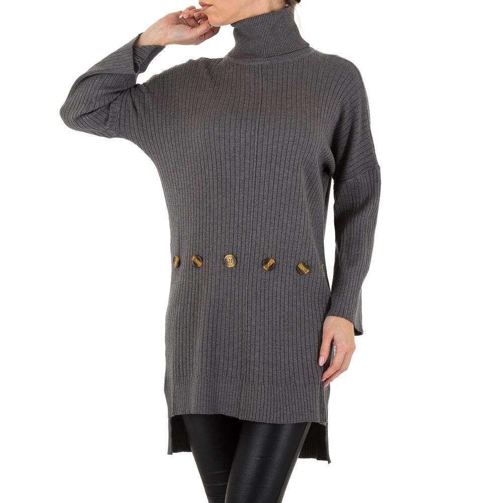 Женский свитер туника оверсайз с удлиненной спинкой Shk Paris (Франция), Серый