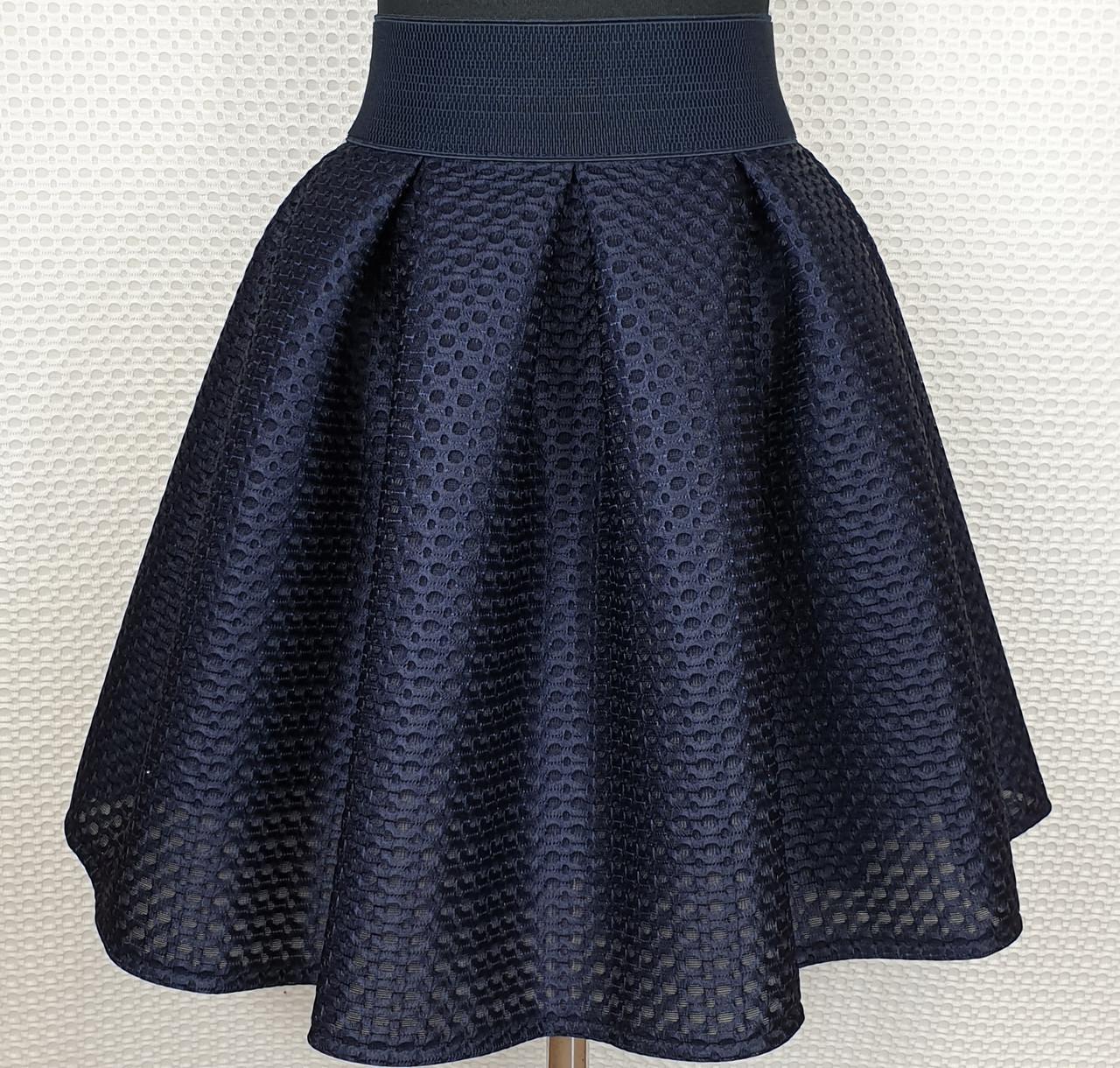 Подростковая  юбка для девочки р 152-164 темно-синий