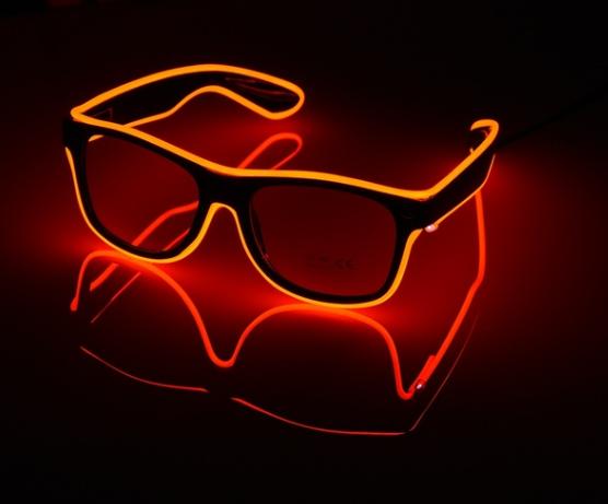 Очки светодиодные прозрачные El Neon ray red неоновые