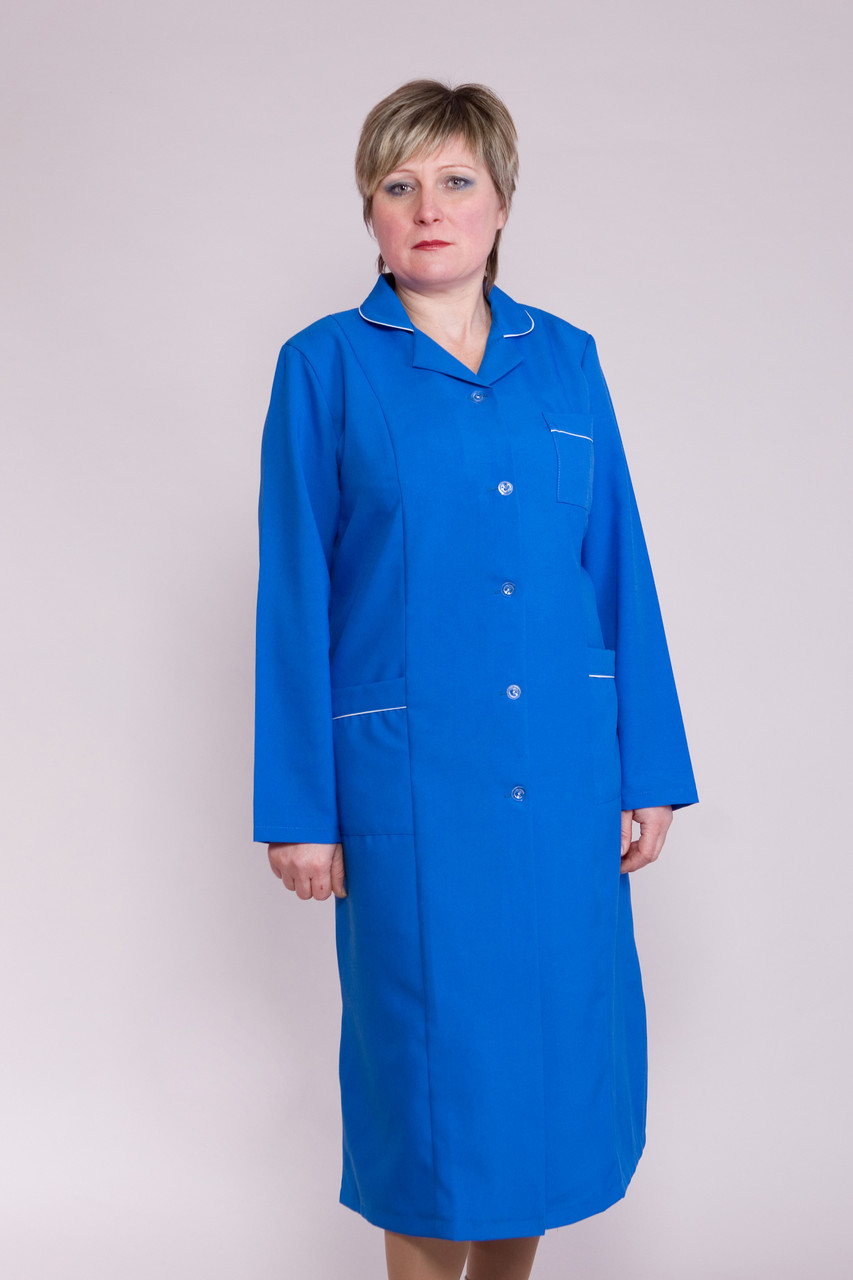 Синий медицинский женский халат с длинным рукавом 1115 ( габардин 44-66 р-р )
