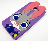 Чехол детский для Huawei Y7 2017 силиконовый объемный игрушка зайчик Джуди фиолетовый