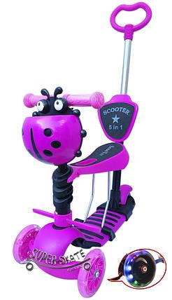Детский Самокат Беговел божья коровка с подножкой 5 в 1 Scooter - С ручкой - Розовый, фото 2