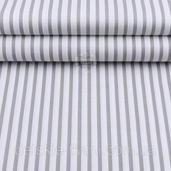 """Ткань хлопковая шириной 220 см """"Полоска 6 мм"""" тёмно-серая на белом"""