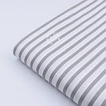 """Ткань хлопковая шириной 220 см """"Полоска 6 мм"""" тёмно-серая на белом, фото 4"""