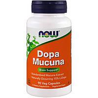 Мукуна пекуча (Капикачху), Dopa Mucuna, Now Foods, 90 капсул
