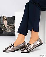 Туфли женские  с декором серебристые