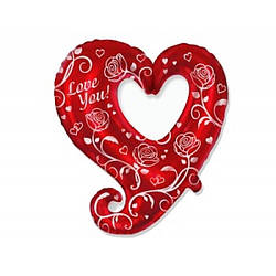 Фольгированный шар Сердце в Сердце с Хвостиком с Рисунком, Flexmetal (Испания)