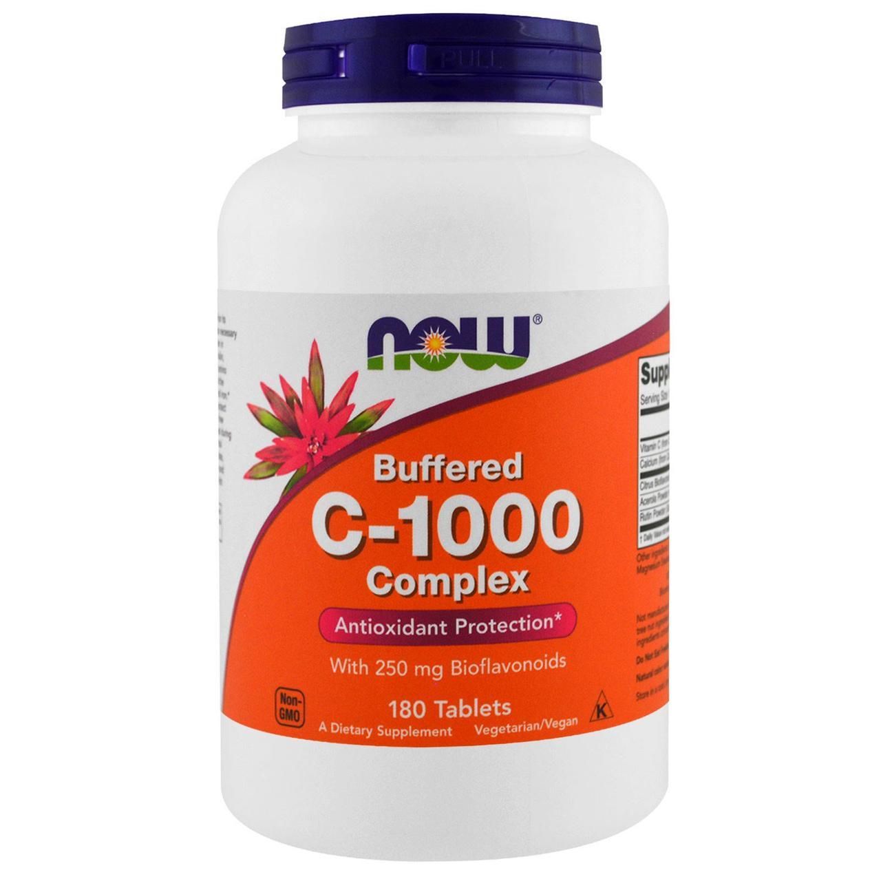 Витамин C - 1000, Buffered C, Now Foods, 180 таблеток