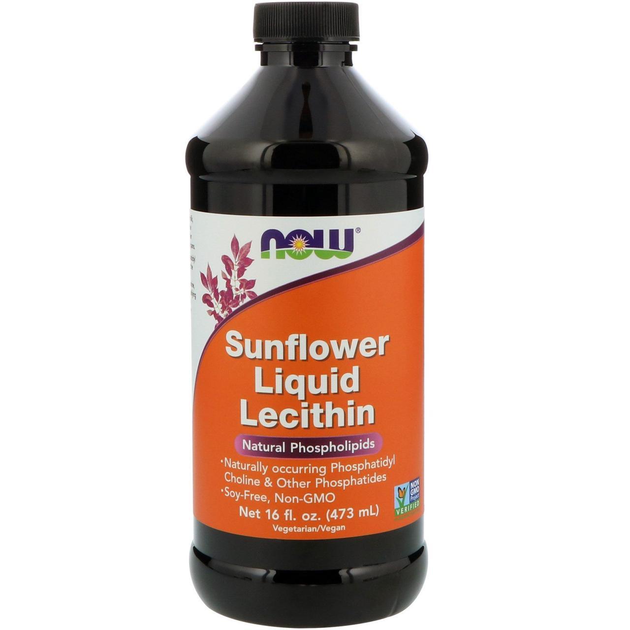 Лецитин подсолнечный жидкий, Lecithin, Now Foods, 473 мл